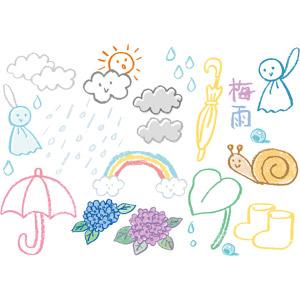 フリーイラスト, ベクター画像, AI, 梅雨, 6月, 雨, 虹, 傘, 紫陽花(アジサイ), てるてる坊主, 長靴, カタツムリ