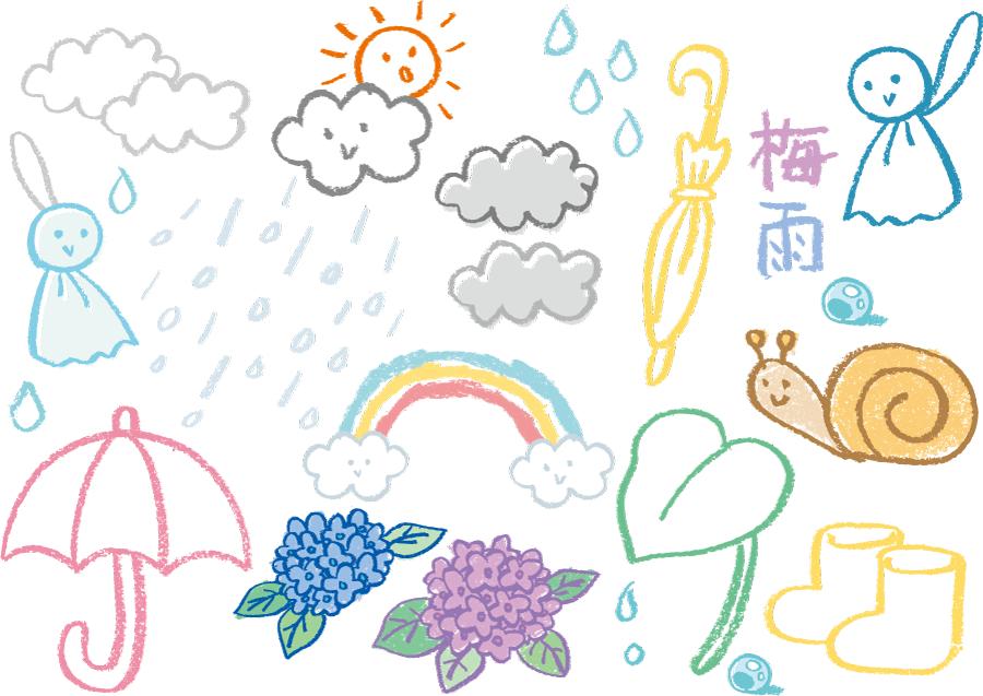 フリーイラスト クレヨンで描かれた梅雨関連のセット