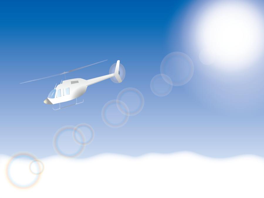 フリーイラスト 大空を飛ぶヘリコプター