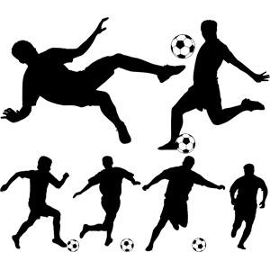 フリーイラスト, ベクター画像, AI, シルエット(人物), スポーツ, 球技, サッカー, サッカー選手, サッカーボール
