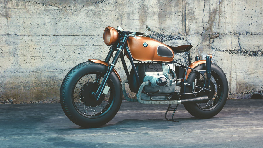 フリーイラスト BMWのRシリーズの古いバイク