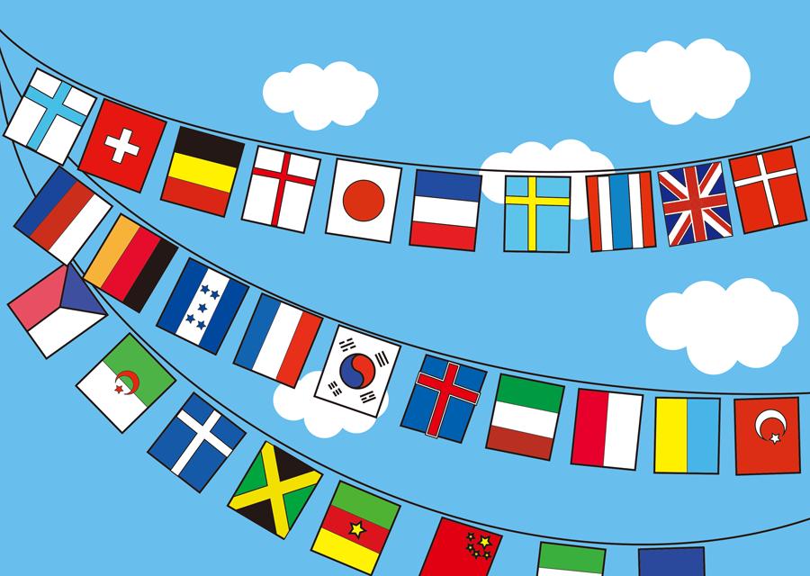 フリーイラスト 青空と万国旗