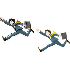 フリーイラスト, ベクター画像, AI, 人物, 男性, 職業, 仕事, ビジネス, ビジネスマン, ビジネスウーマン, サラリーマン, 新入社員, メンズスーツ, 走る, やる気, 拳を上げる, 頑張る
