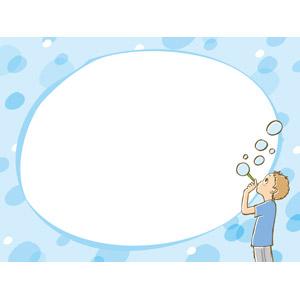 フリーイラスト, ベクター画像, EPS, 背景, フレーム, 円形フレーム, 人物, 子供, 男の子, しゃぼん玉(シャボン玉)