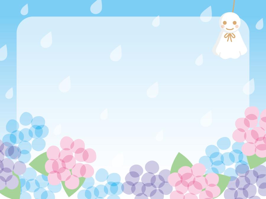 フリーイラスト 紫陽花とてるてる坊主と雨のフレーム