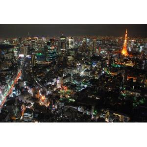 フリー写真, 風景, 建造物, 建築物, 高層ビル, 都市, 街並み(町並み), 夜景, 夜, 東京タワー, 日本の風景, 東京都