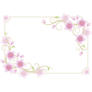 フリーイラスト, ベクター画像, AI, 背景, フレーム, 囲みフレーム, 花, 桜(サクラ), 花びら, ピンク色の花