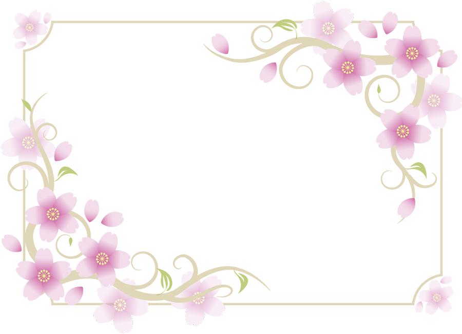 フリーイラスト さくらの花と花びらと蔓の飾り枠