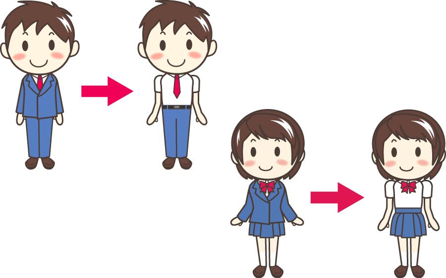 フリーイラスト 冬服から夏服に衣替えする学生