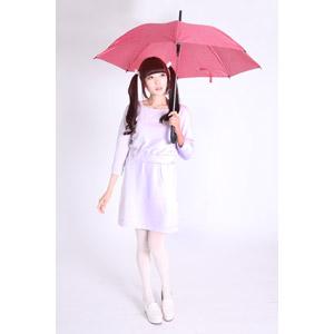 フリー写真, 人物, 女性, アジア人女性, 女性(00072), 日本人, ツインテール, 白背景, 傘