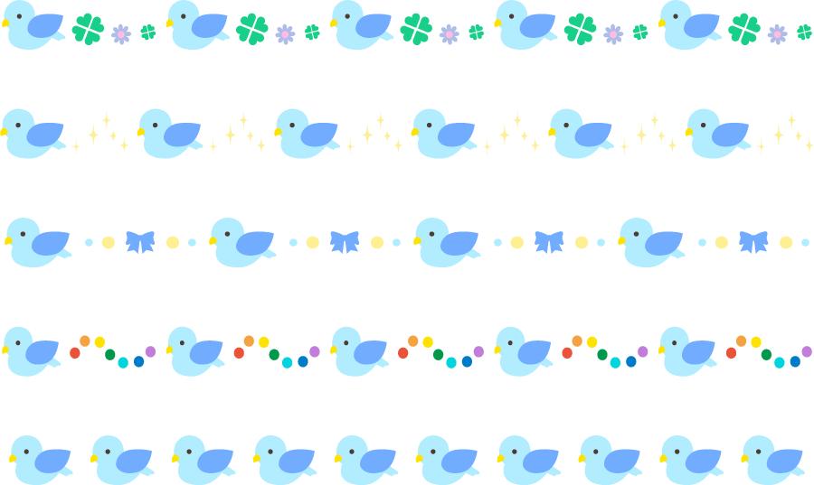 フリーイラスト 5種類の青い鳥のラインのセット