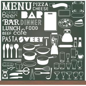 フリーイラスト, ベクター画像, AI, メニューボード, 黒板, 飲食店, メニュー, アイコン, 調理器具, 食器, 英語, フライパン, 片手鍋, 両手鍋, ミキサー, やかん, コップ, フォーク, スプーン, テーブルナイフ