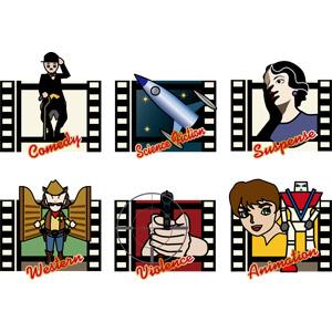 フリーイラスト, ベクター画像, AI, 映画, 映画フィルム, チャールズ・チャップリン, 宇宙船, カウボーイ, 拳銃, ロボット, アニメ, 口元を隠す, 照準