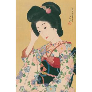 フリー絵画, 川瀬巴水, 浮世絵, 人物画, 女性, アジア人女性, 日本人, 和服, 着物, 髪の毛を触る