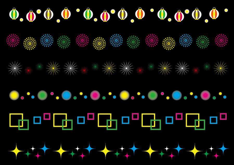 フリーイラスト 提灯や花火などの6種類のカラフルなラインのセット