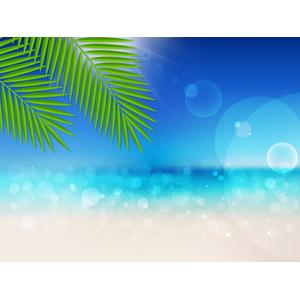 フリーイラスト, ベクター画像, AI, 風景, 自然, 海, ビーチ(砂浜), 椰子(ヤシ), 南国, リゾート, バカンス, 夏, 玉ボケ
