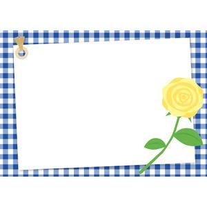フリーイラスト, ベクター画像, AI, 背景, フレーム, 囲みフレーム, メッセージカード, 父の日, 年中行事, 6月, チェック柄, ギンガムチェック, 花, 薔薇(バラ), 黄色の花, タグ