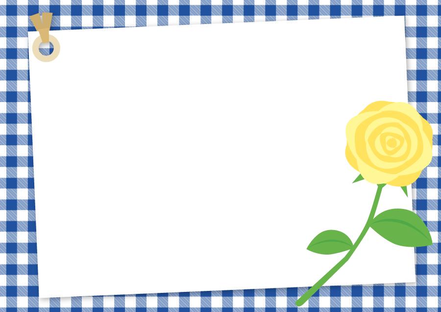 フリーイラスト 黄色のバラとチェック柄の父の日のフレーム