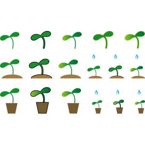 フリーイラスト, ベクター画像, AI, 植物, 新芽, 水滴(雫)