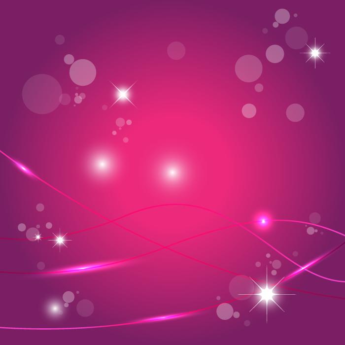 フリーイラスト 波線と玉ボケと輝きのピンク色の背景
