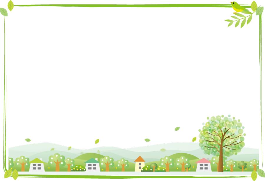 フリーイラスト 風に舞う新緑の葉の田舎の飾り枠