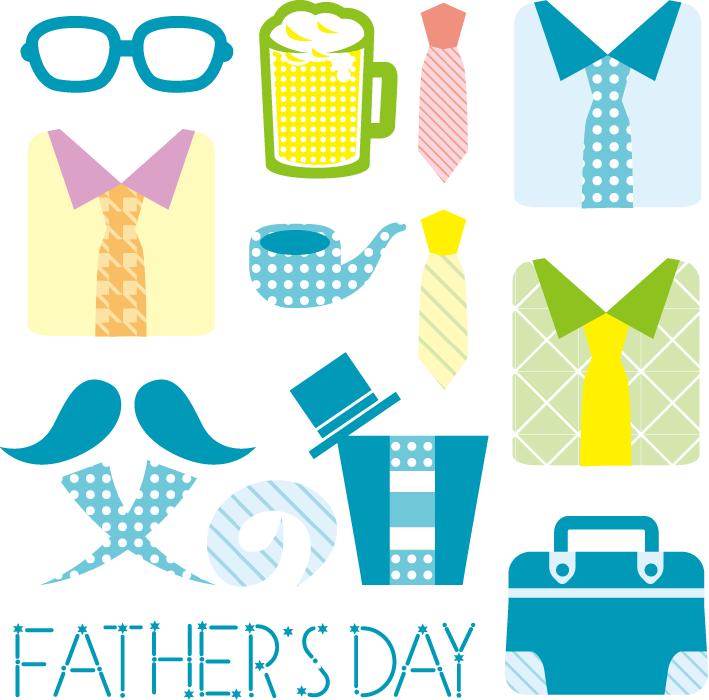 フリーイラスト ワイシャツやネクタイなどの父の日関連のセット