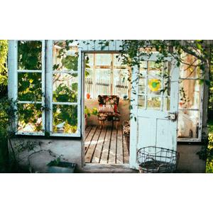 フリー写真, 風景, 建造物, 建築物, 小屋(納屋), 観葉植物, 園芸(ガーデニング), 椅子(チェア)