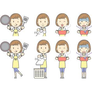 フリーイラスト, ベクター画像, AI, 人物, 女性, 女性(00193), 主婦, 母親(お母さん), エプロン, 調理, 洗濯, 舌を出す, フライパン, フライ返し, 両手鍋, 失敗, 青ざめる, 冷や汗をかく