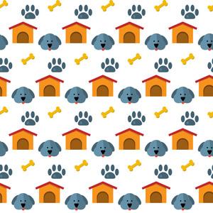 フリーイラスト, ベクター画像, AI, 背景, 動物, 哺乳類, 犬(イヌ), 動物の顔, 足跡(動物), 犬小屋
