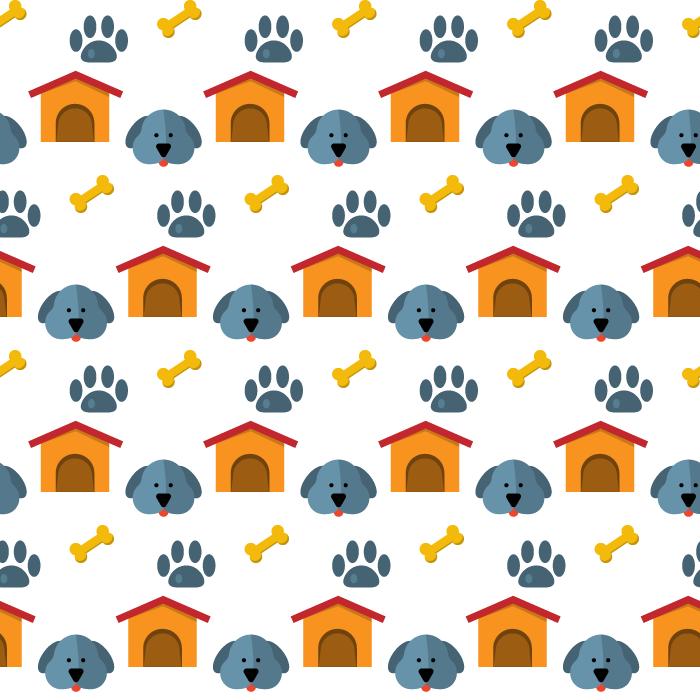 フリーイラスト 犬と足跡と骨と犬小屋の背景