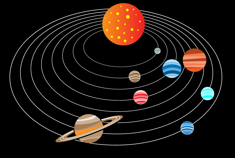 フリーイラスト 太陽の周りを回る8つの惑星