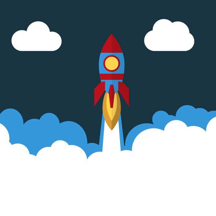 フリーイラスト 宇宙に飛び立つロケット