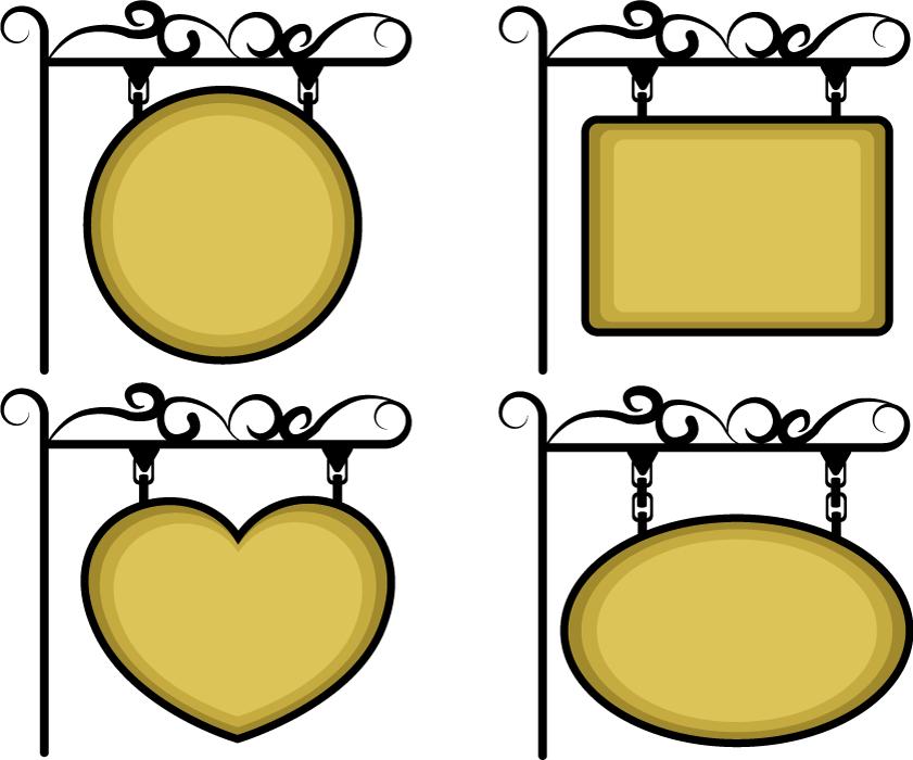 フリーイラスト 4種類の吊り下げ看板のセット