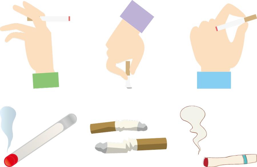フリーイラスト 6種類のたばこと煙草を持つ手のセット