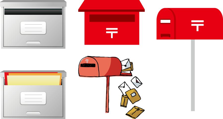 フリーイラスト 5種類の郵便受けのセット