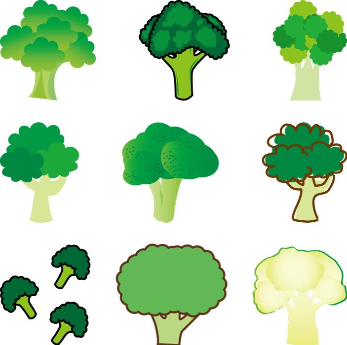 フリーイラスト 9種類のブロッコリーのセット