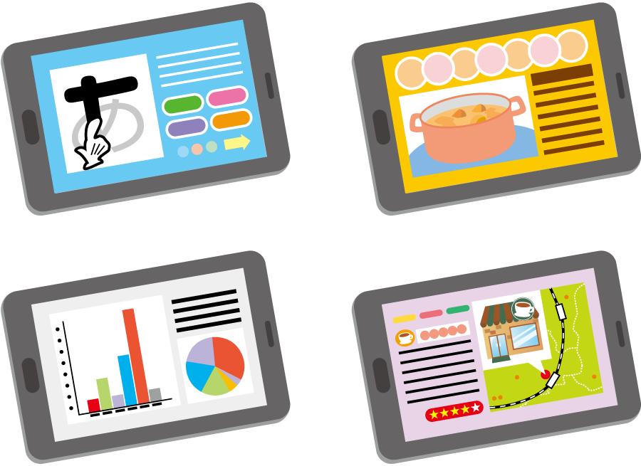 フリーイラスト 教育、料理、ビジネス、飲食店探しなどに利用されるタブレットPCのセット
