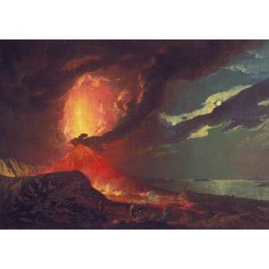 フリー絵画, ジョセフ・ライト, 風景画, 火山, 噴火, 災害, 自然災害, 煙(スモーク), 噴煙, ヴェスヴィオ山, イタリアの風景