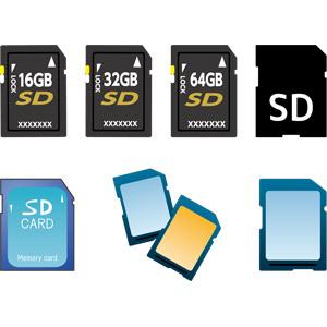 フリーイラスト, ベクター画像, AI, メモリーカード, SDカード