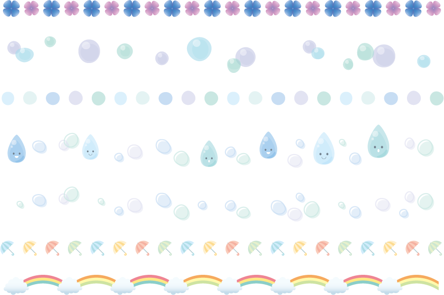 フリーイラスト 7種類の梅雨関連の飾り罫線のセット