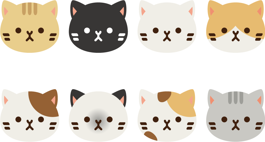 フリーイラスト 8種類の猫の顔のセット