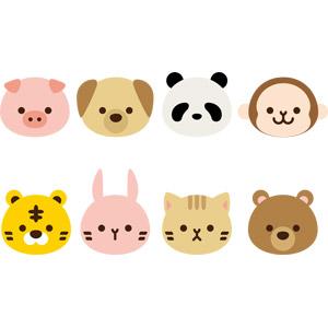 フリーイラスト, ベクター画像, EPS, 動物, 哺乳類, 動物の顔, 猫(ネコ), 豚(ブタ), 犬(イヌ), ジャイアントパンダ, 猿(サル), 虎(トラ), 兎(ウサギ), 熊(クマ)