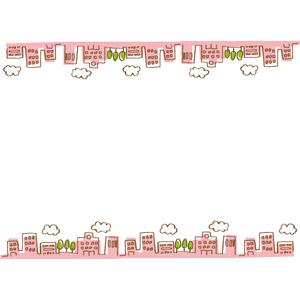フリーイラスト, ベクター画像, AI, 背景, フレーム, 上下フレーム, 都市, 街並み(町並み), 高層ビル, ピンク色
