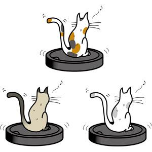 フリーイラスト, ベクター画像, EPS, 掃除(清掃), 掃除用具, 掃除機, ロボット掃除機, 動物, 哺乳類, 猫(ネコ), 三毛猫, シャム猫