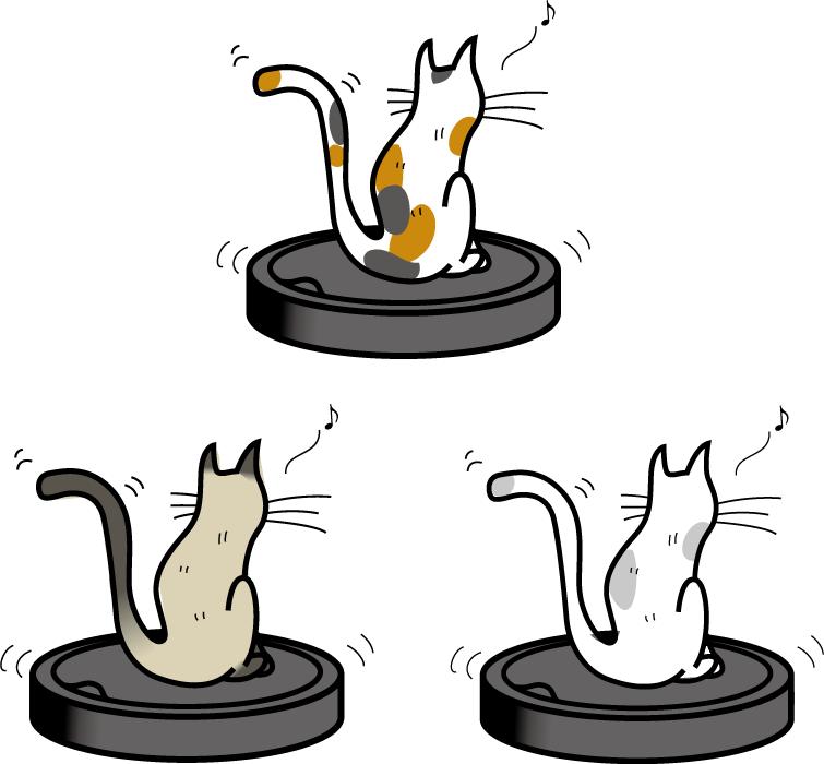 フリーイラスト 3種類のロボット掃除機の上に乗る猫のセット