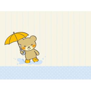 フリーイラスト, ベクター画像, AI, 背景, 便箋(便せん), 動物, 哺乳類, 熊(クマ), 傘, 水溜まり, 梅雨, 6月, 水玉模様(ドット柄)