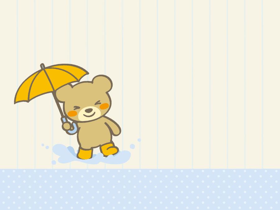 フリーイラスト 雨の中を歩くクマの背景