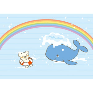 フリーイラスト, ベクター画像, AI, 背景, 虹, 海, 動物, 哺乳類, 鯨(クジラ), 熊(クマ), ホッキョクグマ(シロクマ), 浮き輪, 海水浴, 夏
