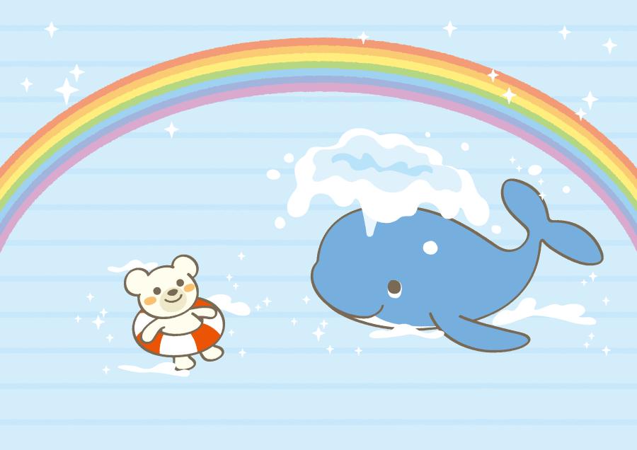 フリーイラスト 虹と海に浮かぶクジラとシロクマの背景