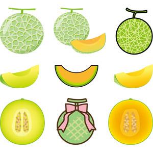 フリーイラスト, ベクター画像, AI, 食べ物(食料), 果物(フルーツ), メロン